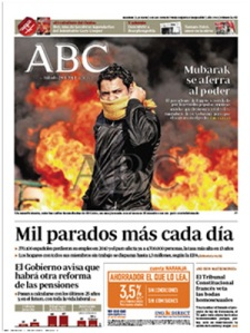Portada del diario ABC sobre la revolución egipcia